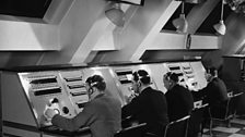 Radio Control Room at Broadcasting House, Christmas Day in the early 1930s