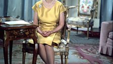 The Queen photographed in 1967 at the time of the recording of her first television broadcast in colour.