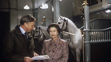 The Queen and Producer, Sir David Attenborough in the Royal Mews at Buckingham Palace