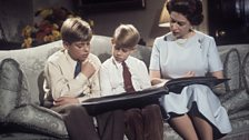11 year old Prince Andrew and 7 year old Prince Edward during the recording of The Queen's Christmas broadcast 1971.
