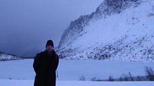 Petroc Trelawny next to the frozen lake in Senja