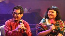 Shreya Rai and Ganga Thapa of Namlo being interviewed after their stage performance