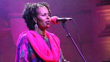 Farxiya Fiska sings with emotion at the BBC's Radio Theatre