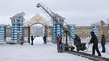 Filming outside Catherine Palace