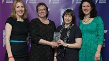Mary Ward-Lowery, Amanda Whittington & team won Best Series or Serial, award presented by Fenella Woolgar