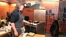 Allegra McEvedy cooks in the studio