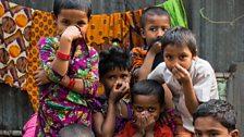 Children in the Tejgaon slum in Dhaka, Bangladesh