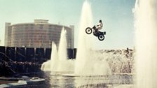 Evel Knievel jumps over the fountains at Caesar's Palace