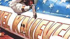 Evel Knievel riding in Skycycle
