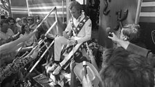 Evel Knievel meets with press at Snake River Canyon
