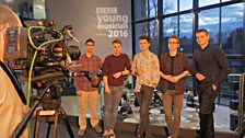 The Percussion Category Finalists gather together to be filmed for the TV broadcast