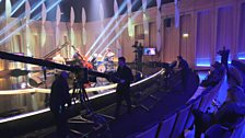 The cameras practise their shots ready for filming the Jazz Award Final