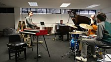 Rehearsals look intense for the Jazz Award final as Tom Smith prepares his performance with the Gwilym Simcock Trio