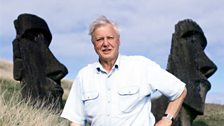 Sir David in front of the famous Easter Island heads