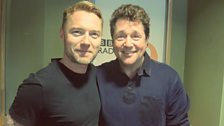 Ronan Keating poses with Michael Ball