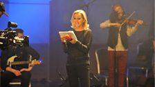 Nikki Bedi on stage in the BBC Radio Theatre