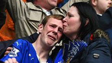 Leicester City fans get emotional as they celebrate victory against Southampton