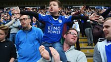 Leicester City fans celebrate victory against Southampton