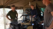 Camera operators Bob Poole, Max Hug-Williams and Mark Wheeler prepare their kit for filming at base camp