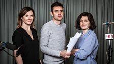 Frances Grey (Regan), Paul Higgins (Edmund) and Madeleine Worrall (Goneril)