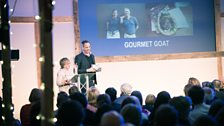 Sheila Dillon and Yotam Ottolenghi revealing the Best Streetfood & Takeway winner