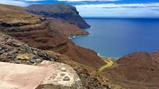View of the brand new airport on cliff edge on St Helena