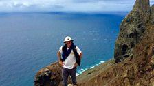 Joe climbing above Freitas beach