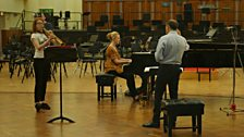 """Jess Gillam plays """"Where the Bee Dances"""" by Michael Nyman for the first time to the conductor Mark Wigglesworth"""