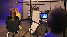 Finalist Jess Gillam is filmed being interviewed by presenter Clemency Burton-Hill