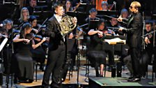 Ben Goldscheider and Mark Wigglesworth performing with the BBC Symphony Orchestra during the Final of BBC Young Musician 2016