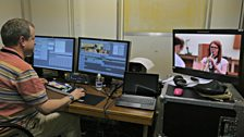 Our editor Rich is putting the final touches to a video package to be shown during the broadcast