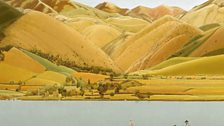 Winifred Knights, Edge of Abruzzi; boat with three people on a lake (c/o Lund Humphries)