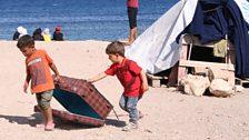 Refugee children at the Souda camp