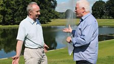 Duke of Buccleuch and Sean Rafferty beside the fountain in the grounds of Boughton House.