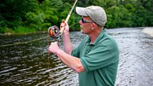 Ghillie Mick Charlton casts a fly at Middle Pavilion fishing beat