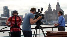 Stephen McGann and camera crew on Mersey ferry