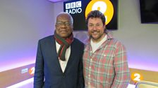 Michael poses with Sir Trevor McDonald