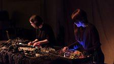 Klara Lewis (L) and Nik Colk Void performing