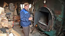 Wood fuelled energy powers the factory- steam is produced by burning logs