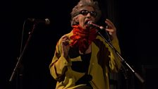Vocalist and composer Shelley Hirsch performs an improvisation with Tim Hodgkinson and Paul May