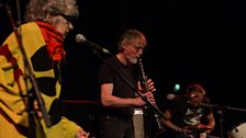 Shelley Hirsch (vocals), Tim Hodgkinson (clarinet and guitar) and Paul May (drums) improvise together