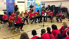 Cardwell Primary pupils prepare at their Ten Pieces Assembly