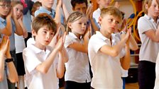 Mayfield Primary School pupils learn body percussion moves from Connect It