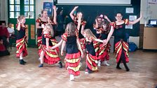 Salsa dancers join in with the celebrations at Merllyn C.P. School