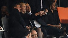 The leaders of Britain and Denmark take a selfie with Barack Obama at the state funeral for Nelson Mandela in 2013.