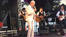 Tony Christie having fun with the crowd