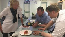 Mark pitches his ingredient to Sue and Neil