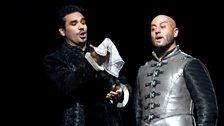 Frédéric Antoun as Cassio and Marco Vratogna as Iago
