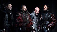 Fréderic Antoun as Cassio, Simon Shibambu as Montano, Marco Vratogna as Iago and Thomas Atkins as Roderigo