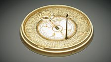 Ivory qibla indicator used to find the direction of Mecca